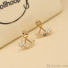 Agradable Joyería Centelleo Estrella Diamante Plata Aguja dama Aretes