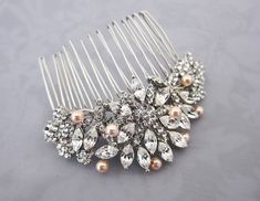 Vintage Style Pearl Crystal Hair comb 1920s by LottieDaDesigns