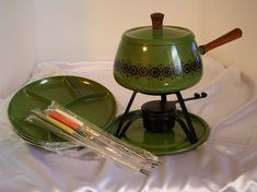 This vintage fondue set is in perfect condition and most of it is still in the original plastic. Four plates, four multi-colored fondue forks, plus the pot and stand. The color and retro design are great. Time for some cool kitschy fun with a few friends! Those Were The Days, The Good Old Days, My Childhood Memories, Best Memories, Orange Wedding, I Remember When, Good Ole, Dinner Sets, My Memory