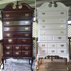 Modernized This Beautiful Queen Anne Highboy Dresser White And Gold Before After