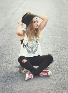 Skatergirl look, inspires me how to wear Converse in a 2013 kind of way
