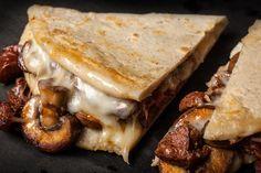 A rich recipe for mushroom and chorizo quesadillas.
