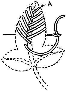 FLAT STITCHES: vocabulary 2: Open Fishbone Stitch by Mrs. A. Christie London 1920
