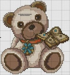 Cross Stitch Alphabet, Cross Stitch Baby, Cross Stitch Embroidery, Cross Stitch Patterns, Canvas Designs, Canvas Patterns, Minnie Baby, Square Quilt, Baby Animals