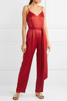 Red satin Concealed hook and zip fastening at back 71% acetate, 29% viscose; lining: 100% polyester Dry clean Designer color: Cinnabar Imported