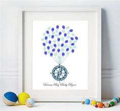 Compass Nautical Guest Book Baby Shower Birthday Fingerprint Balloons Boat thumbprint guest book - Digital Printable Personalized Print