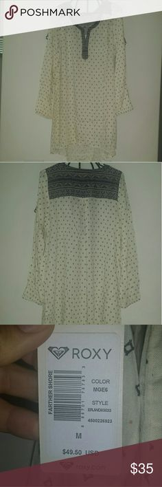 Roxy shirt dress Super cute patterns shirt dress. Can be worn by by itself or over a pair of leggings.  Size medium brand new with tags. Roxy Dresses Long Sleeve