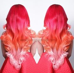 """LOVE this pink orange ombre hair (when my hair is """"mermaid length"""" i wanna do something like this)"""