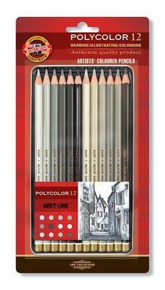 Koh-I-Noor Polycolor Grey Line Artists Coloured Pencils Set of 12 Koh I Noor, Alice Anime, Line Artist, Art Supplies Storage, Artist Pencils, Color Crayons, Drawing Letters, Coloured Pencils, Drawing Tools