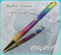 Rainbow Daisies (gold finish)