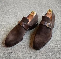 Handmade Men's Dark Brown Suede & Leather Shoes, Men Single Monk Strap Dress Formal Shoes Mens Monk Strap Shoes, Suede Leather Shoes, Soft Leather, Calf Leather, Leather Buckle, Leather Men, Black Suede, Suede Loafers, Custom Leather