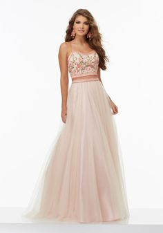 Two-Piece Prom Dress with Floral Embroidered Bodice and Soft Tulle Skirt. Colors Available: White, Blush