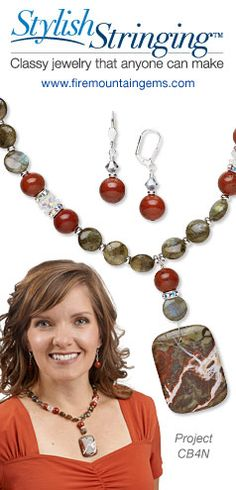 """Fall"" For This Necklace: Necklace Jewelry Set Featuring Labradorite and Red Jasper Gemstone Beads with Sierra Agate Pendant"