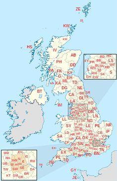 Map of the United Kingdom and Crown dependencies showing postcode area boundaries  Region of UK https://en.wikipedia.org/wiki/Regions_of_England