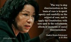 Justice Sonia Sotomayor on how to stop race discrimination Real Life Heros, Sonia Sotomayor, Worth Quotes, Words Worth, School Counselor, Women In History, Change The World, True Stories, Elementary Schools