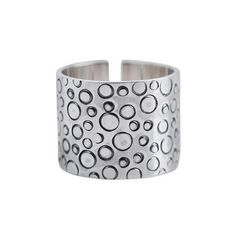 NOVICA Wide Sterling Silver Band Ring Handcrafted in Peru (270 BRL) ❤ liked on Polyvore featuring jewelry, rings, band, clothing & accessories, sterling silver, rectangle ring, sterling silver wide band rings, circle ring, hand crafted rings and ribbon jewelry