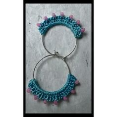 Elegant Light blue hoop with pink beads