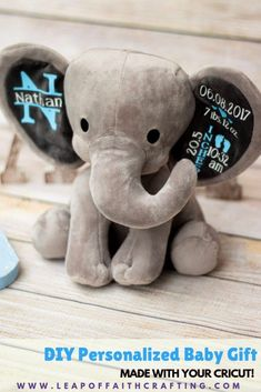 DIY unique baby gifts using a Cricut and EasyPress. Make an adorable birth stat elephant! # DIY Gifts cricut DIY Baby Gifts: How to Make an Adorable Birth Stat Elephant! - Leap of Faith Crafting Diy Baby Gifts, Unique Baby Gifts, Personalized Baby Gifts, Newborn Baby Gifts, Baby Gifts For Boys, Baby Boy Stuff, Custom Baby Gifts, Newborn Care, Fun Gifts