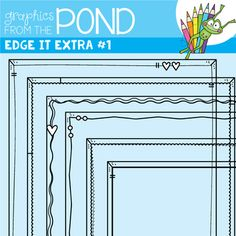 Edge It Extra Set This is a versatile set of 6 individual files to use in your classroom and teacher resource files that you sell and distribute. The set includes border frames that will work perfectly for worksheets and covers. They sit close to the edge of the page and have a simple design.