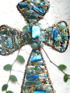 Wall cross wire wrapped cross beaded by SunshineDaydreamz on Etsy, $34.00