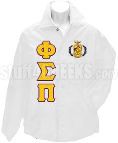 White Phi Sigma Pi crossing jacket with the crest on the left breast and the Greek letters down the right.