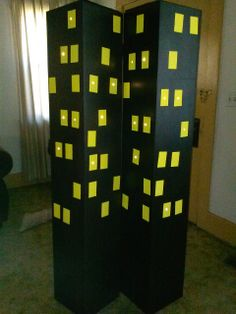 """Recycled Shipping Boxes turned into Lit up Gotham City Buildings :) Battery op- LED lights strung inside shining through punched """"window"""" holes Vbs Themes, Event Themes, Halloween Cubicle, Hero Central Vbs, Kids Church Rooms, Broadway Theme, Homecoming Themes, New York Theme, Hero Crafts"""