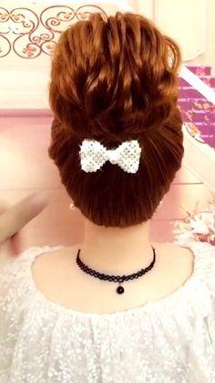 Bun Hairstyles For Long Hair, Headband Hairstyles, Girl Hairstyles, Wedding Hairstyles, Headband Curls, Hairstyle Braid, Brown Hairstyles, Kids Hairstyle, Heatless Hairstyles