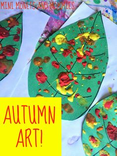 Autumn art activity for kids! Make a mobile using paper leaves and a Jackson Pollock paint splatter.