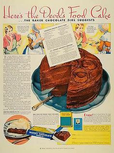 1933 Devil's Food Cake from Baker's Chocolate love old recipes Cookbook Recipes, Cake Recipes, Dessert Recipes, Cooking Recipes, Homemade Cookbook, Cookbook Ideas, Crockpot Recipes, Devils Food, Retro Recipes