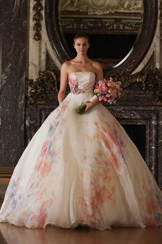 Romona Keveza watercolor wedding gown. https://www.facebook.com/weddingchicks/posts/10152962294262672