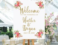 Printable Wedding Welcome Sign, Welcome sign printable, wedding sign, Reception Sign, Blush and Gold, Floral wedding sign, DIY wedding sign by OccasionHouse on Etsy