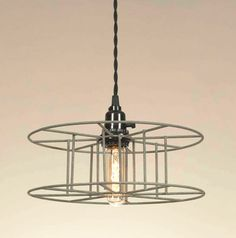 Rustic Industrial Warehouse Wire Spool Pendant Light with Vintage Style T10 Tubular Bulb