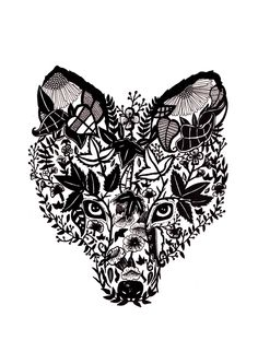 Botanical Fox Illustration, Fox print, Fox Art