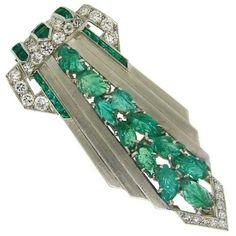 Art Deco Emerald, Diamond & Platinum Clip, c. 1920s.