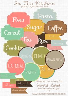 "These special ""Kitchen Pantry Organizing Labels"" are designed by Catherine Auger of  pumpkinandposies.com  Labels are in printable PDF templates and are editable. Download for free. Use for all types of labeling in your home kitchen, as pantry labels, even gift tags and much much more… Templates come pre-formatted with text, and also fillable editable PDF templates for you to personalize. Downloads are FREE"