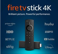 The most powerful 4K streaming media stick. Watch favorites from Netflix, YouTube, Prime Video, Disney+, Apple TV, HBO, and more. Stream for free with Pluto, IMDB TV, and more. Launch and control content with the Alexa Voice Remote. Enjoy brilliant picture with access to 4K Ultra HD, Dolby Vision, HDR, and HDR10+. Choose from 500,000 movies and TV episodes Amazon Fire Stick, Amazon Fire Tv, Quad, Sony, Imdb Tv, Bluetooth, Echo Devices, Baby Born