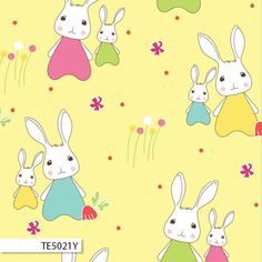 SPRING BUNNIES 5021 Blue Bunny, Blue Fabric, Pikachu, Trail, Bunnies, Yellow, Spring, Cotton, Kids