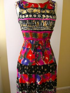Bohemian Floral Beaded Fringe Tiered Flounce Dress by OwlVintage, $75.00