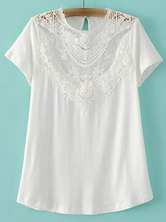 White Embroidery Lace Key Hole Back T-shirt -SheIn(abaday)