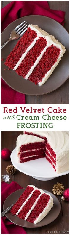 Red Velvet Cake with Cream Cheese Frosting - Add blueberries and raspberries to the top and it's perfect for the Delicious! Red Velvet Cake with Cream Cheese Frosting - Add blueberries and raspberries to the top and it's perfect for the Delicious! Just Desserts, Delicious Desserts, Yummy Food, Italian Desserts, Delicious Chocolate, Baking Recipes, Cake Recipes, Dessert Recipes, Bolo Tiramisu