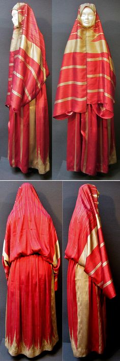 Late-Ottoman urban street-wear, made in Aleppo or Gaziantep, late 19th c.  Exported from there to many urban centers in Anatolia and the Levant.  Purchased in Konya, in 1996.  Called 'ferace' or 'bürgü' in Central Anatolia.  Made of two large rectangular pieces of silk (ca. 110 x 210 cm), sewed together to form a baggy skirt and attached head dress shawl. The silk fabric is locally called 'meydaniye'. (Inv.n° fer002 - Kavak Costume Collection - Antwerpen/Belgium).