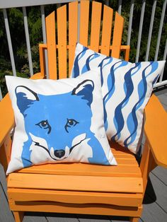 "Outdoor pillow blue fox 20"" pillow Arctic fox foxy nature zoology park ranger forest vixen reynard wildlife mammal Crabby Chris Original"