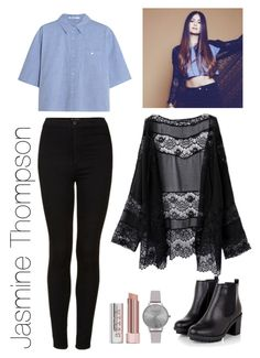 """""""Get the Look: Jasmine Thompson"""" by t-k-amie ❤ liked on Polyvore featuring Topshop, T By Alexander Wang, Stila, Olivia Burton, women's clothing, women, female, woman, misses and juniors"""