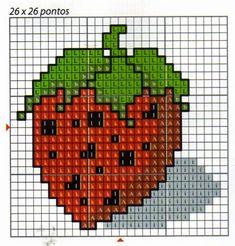 **Blog Amor Perfeito** Gráficos de ponto cruz: Frutas, Verduras e legumes Cross Stitch Fruit, Mini Cross Stitch, Cross Stitch Charts, Cross Stitch Patterns, Baby Decor, Crochet Motif, Needlework, Diy And Crafts, Tapestry