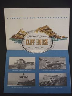 1950s Menu Cliff House Seal Rocks Restaurant World Famous Centennial California