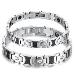 Black and White Women's Anti-fatigue Couples' Health Magnetic Titanium Stainless Steel Bracelets (Valentine's Gift, One Pair & Single Item Selectable) (Bundle Deal (Men's & Women's)) Tungsten Love. $39.99. Length 21.8cm Mens; 20.5cm Women's. Lover's gift, perfect for Valentine's gift. Width: 10mm Men's / 9mm Women's. Weight: 40g male's / 25g female's. Couple's Anti-fatigue Couples' Health Magnetic Stainless Steel Bracelets