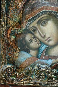Chyba się rozpędziłam:-)))  Mamy następny post w przeciągu paru dni.  Taka mała powtóreczka z rozrywki... Ta sama madonna została użyta w na... Orthodox Icons, Fish Art, Altered Books, Painting On Wood, All Art, Art Forms, Madonna, Decoupage, Art Pieces