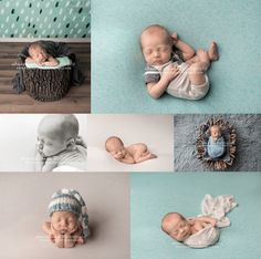 Newborn photography session with blue and teal, baby boy newborn photography, baby photo collage, Eugene Oregon newborn photographer