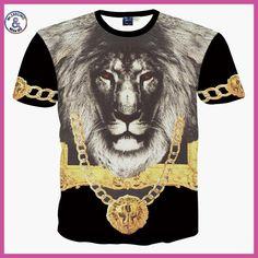 2017 Brand Famous Summer New Mr GUGU & Mis GO versa T Shirt 3D Gold flower Du Jin Sha lion African lion printing T-shirt Tops