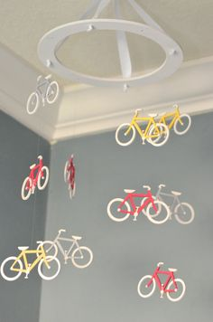 Bicycle Nursery Mobile Custom Painted by FlutterBunnyBoutique Bike Cycling Baby Decor
